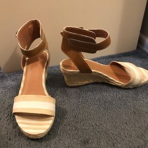 "Nude / Tan Sandals with 2"" Wedge"